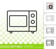 Línea negra simple icono de la microonda del vector stock de ilustración