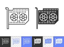 Línea negra simple icono de la tarjeta gráfica del vector libre illustration