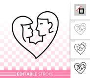 Línea negra simple icono de los pares románticos del vector del amor libre illustration
