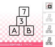 Línea negra simple icono del cubo del alfabeto del vector del bloque libre illustration