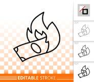 Línea negra simple icono del dinero ardiente del vector stock de ilustración