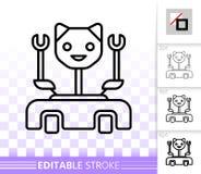 Línea negra simple icono del gato del robot del vector stock de ilustración