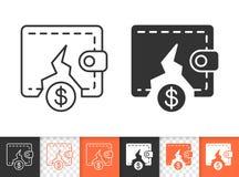 Línea negra simple icono del monedero vacío del vector stock de ilustración