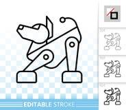 Línea negra simple icono del perro del robot del vector stock de ilustración