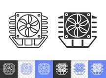 Línea negra simple icono del refrigerador del procesador de la fan del vector ilustración del vector