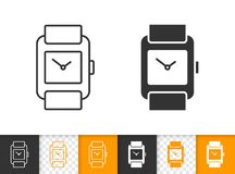 Línea negra simple icono del reloj del vector stock de ilustración