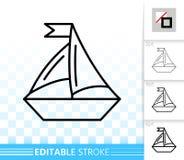 Línea negra simple icono del velero del vector stock de ilustración