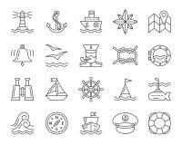 Línea negra simple marina sistema del vector de los iconos stock de ilustración