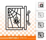 Línea negra simple segura vacía icono del vector stock de ilustración
