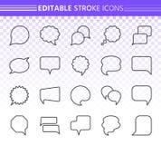 Línea negra simple sistema de la burbuja del discurso del vector de los iconos libre illustration