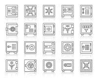 Línea negra simple sistema de la célula segura del banco del vector de los iconos libre illustration