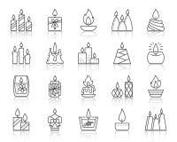 Línea negra simple sistema de la llama de vela del vector de los iconos ilustración del vector