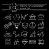 Línea negro de las divisas de los iconos Imagen de archivo libre de regalías