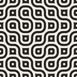 Línea ondulada inconsútil modelo geométrico blanco y negro del vector Fotografía de archivo