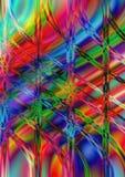Línea ondulada y perpendicular en fondo multicolor brillante Fotos de archivo
