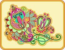 Línea original diseño floral adornado del drenaje de la mano del arte Foto de archivo libre de regalías