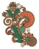 Línea original diseño floral adornado del drenaje de la mano del arte Imagen de archivo