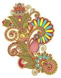Línea original diseño floral adornado del drenaje de la mano del arte Imagen de archivo libre de regalías