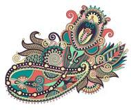 Línea original diseño floral adornado del drenaje de la mano del arte Fotografía de archivo