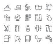 Línea perfecta iconos del pixel de la higiene personal Sistema de elementos de la ducha, del jabón, del cuarto de baño, del retre Foto de archivo