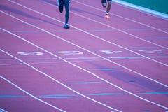 Línea pintada en un campo corriente atlético de la pista Foto de archivo libre de regalías