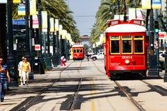Línea pistas del canal de New Orleans del coche de la calle Fotografía de archivo libre de regalías