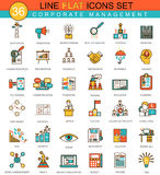 Línea plana animal sistema de la gestión corporativa del vector del icono Diseño moderno del estilo elegante para el web Fotografía de archivo