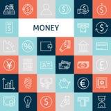Línea plana Art Modern Money del vector e iconos de las finanzas fijados Imagenes de archivo