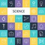 Línea plana Art Modern Science Education del vector e iconos S de la escuela Imagen de archivo libre de regalías