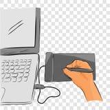 Línea plana arte del bosquejo del color del vector de artista Illustrator Creating Something que usa Pen Tab o la tableta gráfica stock de ilustración