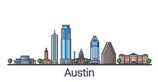 Línea plana bandera de Austin Fotografía de archivo