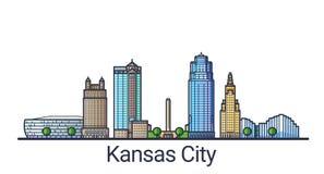 Línea plana bandera de Kansas City libre illustration