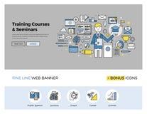 Línea plana bandera de los cursos de aprendizaje