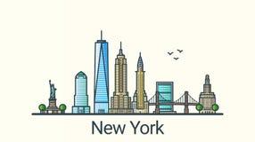 Línea plana bandera de Nueva York stock de ilustración
