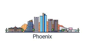Línea plana bandera de Phoenix ilustración del vector