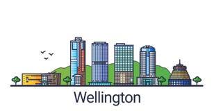 Línea plana bandera de Wellington ilustración del vector