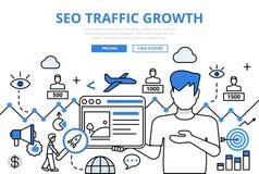 Línea plana bandera del concepto del crecimiento de tráfico de SEO de los iconos del vector del arte