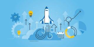 Línea plana bandera del sitio web del diseño de la puesta en marcha del negocio libre illustration