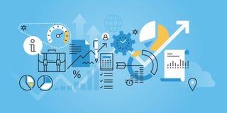 Línea plana bandera del sitio web del diseño del análisis y del planeamiento de negocio Foto de archivo
