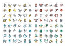 Línea plana colección colorida de los iconos de la energía renovable Foto de archivo libre de regalías