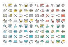 Línea plana colección colorida de los iconos de SEO Imagen de archivo