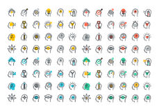 Línea plana colección colorida de los iconos del proceso del cerebro humano stock de ilustración