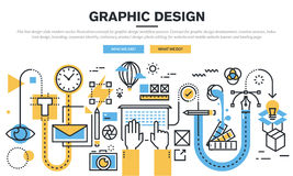 Línea plana concepto de diseño para el proceso del flujo de trabajo del diseño gráfico Fotos de archivo libres de regalías