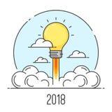Línea plana concepto de la Feliz Año Nuevo 2018 del estilo del arte De lanzamiento y nuevo Foto de archivo libre de regalías