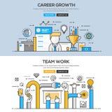 Línea plana concepto del diseño - carrera y Team Work Imagen de archivo libre de regalías