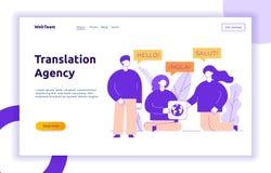 Línea plana concepto del vector de diseño de la traducción de la gente moderna grande con palabra hola en inglés, español y franc stock de ilustración