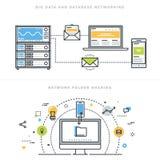 Línea plana conceptos de diseño para el establecimiento de una red de la base de datos y la distribución de la carpeta de red Imagenes de archivo