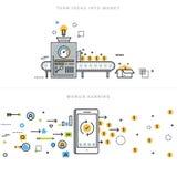 Línea plana conceptos de diseño para la realización en línea de las ideas de la ganancia y del negocio Imagen de archivo libre de regalías