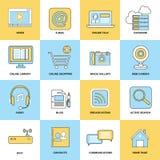 Línea plana de los iconos de Internet Fotografía de archivo
