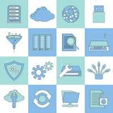Línea plana de los iconos de la base de datos Foto de archivo libre de regalías